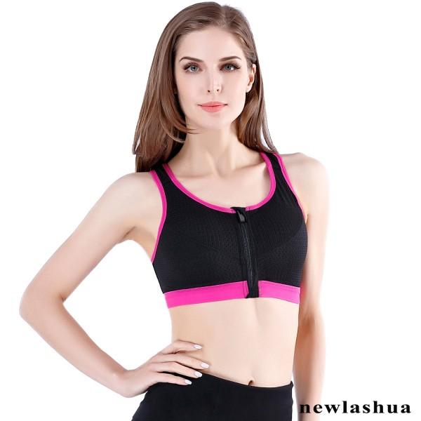 Newlashua Supportive Zipper Front Closure Sports Bra- Padded Zip Up Sports Bra